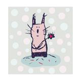 Polka Dot Kitty Giclee Print by Carla Martell