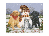Snowboy with Little Friends Giclee Print by William Vanderdasson