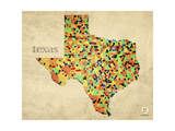 Texas County Map Giclee Print by David Bowman