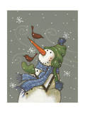 Snowman with Birds Giclee Print by Margaret Wilson
