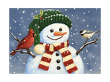 Snowman with Cardinal and Chickadee Giclee Print by William Vanderdasson