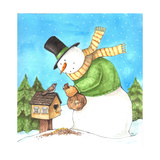 Snowman Green Bird Giclee Print by Melinda Hipsher