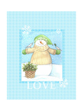 Snowman Dove Love Giclee Print by Melinda Hipsher