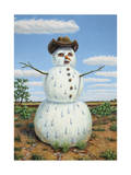 Snowman in Texas Giclee Print by James W. Johnson