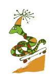 Skateboard Snake Giclee Print by Carla Martell