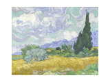 Van Gogh, Wheatfield with Cypress Giclée-tryk