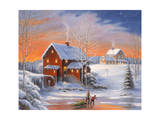 Winter at the Old Mill Giclee Print by John Zaccheo