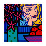 Still Life with Lichtenstein Crying Girl Lámina giclée por John Nolan