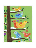 Six Christmas Birds Giclee Print by Nathaniel Mather