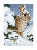 Winter Cottontail and Friend Giclee Print by William Vanderdasson