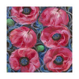 Six Pink Poppies Giclee Print by li bo