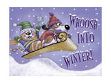 Sled Party Giclee Print by Margaret Wilson