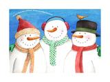 three snowmen sing Giclee Print by Melinda Hipsher