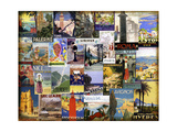 World City Tour Collage Giclee Print