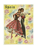 Spain and Flowers Giclee Print