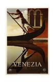 Venezia Venice Man Rowing Gondola - Giclee Baskı