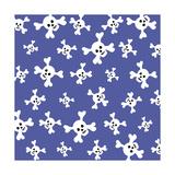Skull Pattern Blue Giclee Print by Erin Clark