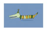 Stripy Crocodile Giclee Print by Carla Martell