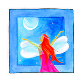 A Fairy with Arms Reaching Towards the Moon Giclee Print