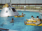 Apollo 1 Astronauts Working by the Pool Photographic Print