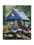 Birdhouse, Birds, Coneflower Giclee Print by William Vanderdasson