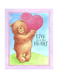 Bear Live with Heart Stampa giclée di Melinda Hipsher