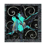 Aqua Lovebirds Giclee Print by Mindy Sommers