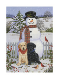 Backyard Snowman with Friends Giclee Print by William Vanderdasson