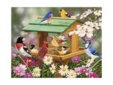 Backyard Birds Spring Feast Giclée-tryk af William Vanderdasson