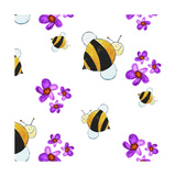 Bees and Flowers Giclee Print