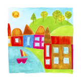A Group of Houses Along a Lake Giclee Print