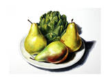 3 Pears and Artichoke on Plate Giclee Print by Laurin McCracken