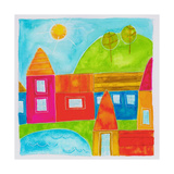 A Group of Houses in a Country Setting Giclee Print