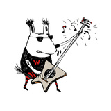 Wild Guitar Wolf Giclee Print by Carla Martell
