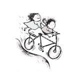 Bike Kids Giclee Print by Carla Martell