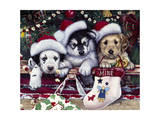 A Tail Wagging Christmas Giclee Print by Jenny Newland