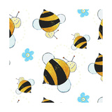 Bees and Flowers Pattern Giclee Print