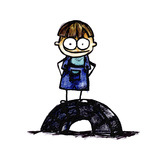 Boy Standing on a Tire Giclee Print