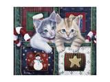 Christmas Calendar Kittens Giclee Print by Jenny Newland