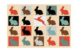 Colorful-Baby-Rabbits 10000 Impression giclée par Mark Ashkenazi