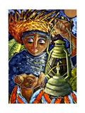 Boy and Lantern Giclee Print by Oscar Ortiz