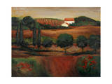 Crimson Light in Tuscany Giclee Print by John Zaccheo
