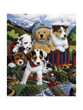 Choo Choo Puppies Giclee Print by Jenny Newland