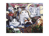 Christmas Kittens and All the Trim'Ns Giclee Print by Jenny Newland