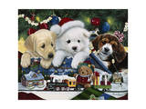 Curious Christmas Pups Giclée-tryk af Jenny Newland
