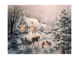 Christmas Visit Giclee Print by Nicky Boehme