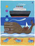 Day at the Beach Reproduction procédé giclée par Nathaniel Mather