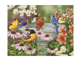 Garden Birdbath Giclee Print by William Vanderdasson