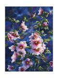Hollyhocks and Hummingbirds Giclee Print by Jeff Tift