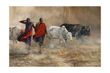 Dusty Cattle Drive Giclee Print by Trevor V. Swanson